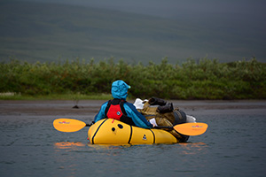 Chelsea Ward-Waller in her Yukon Yak packraft on the Anaktuvuk River
