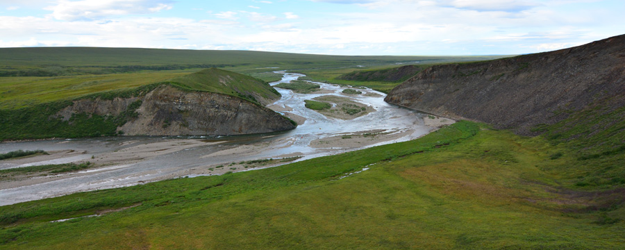 The Anaktuvuk River winds through the hills of the North Slope