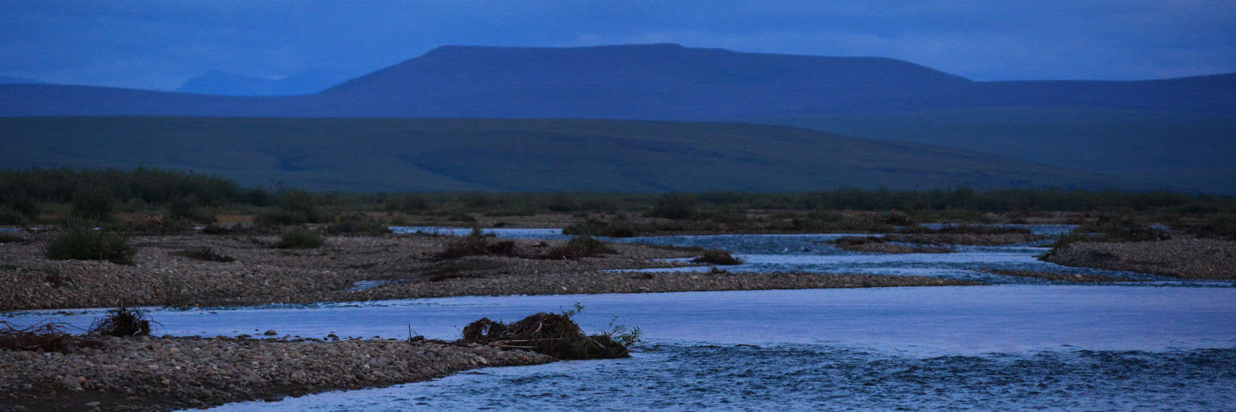 A blue evening on the Anaktuvuk River. North Slope, Alaska