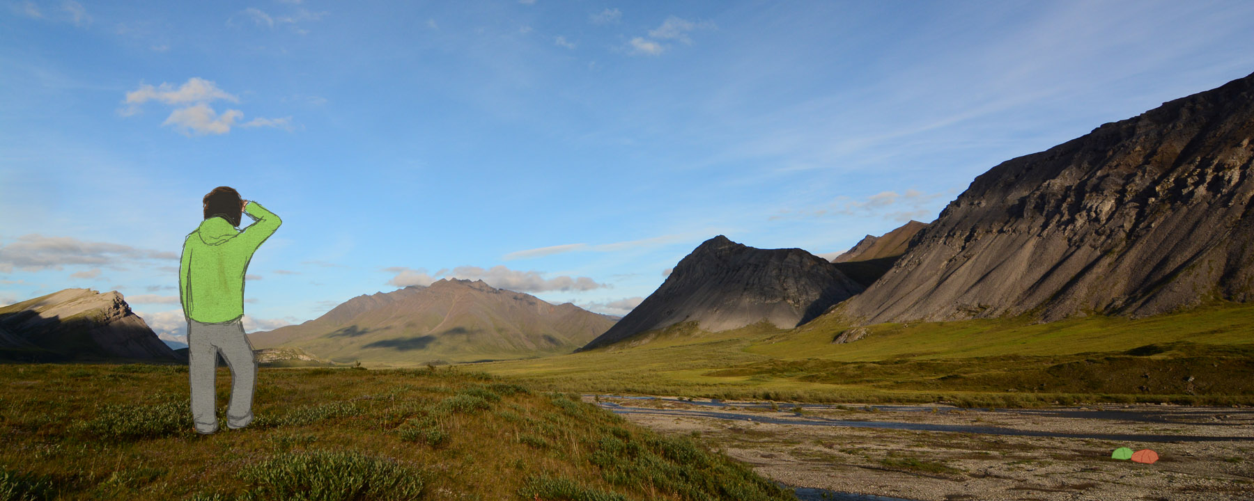 Camped on the floor of the Anaktuvuk River Valley, surrounded by sunlit mountains