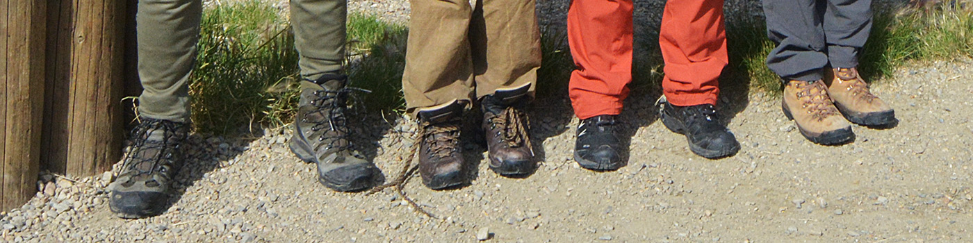 The shoes and boots worn by members of Expedition Arguk for backpacking in the Brooks Range