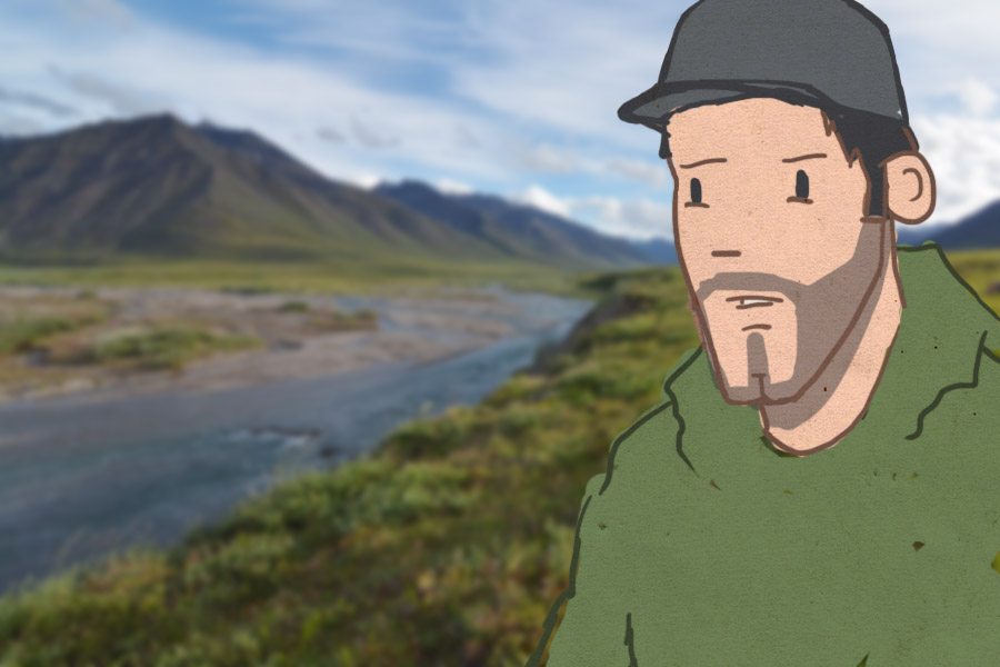 Luke Douglas talking in Oolah Valley, in the Brooks Range Mountains, Alaska