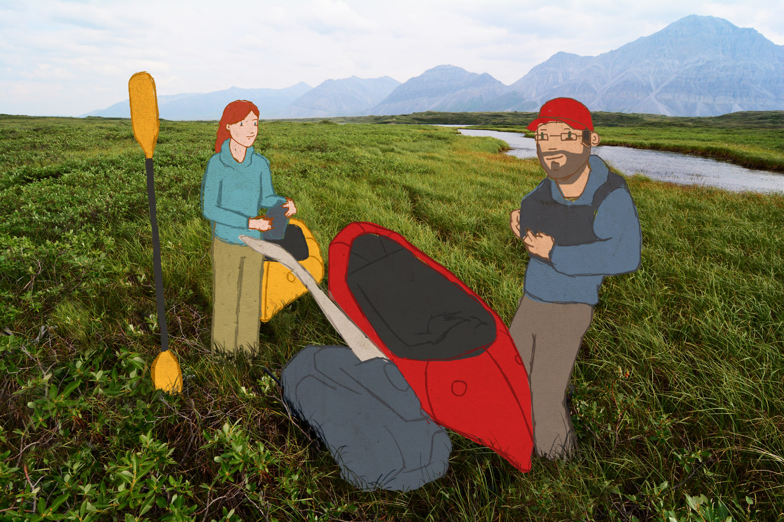 Brett and Chelsea inflate their Alpacka packrafts on the shore of a lake in the Brooks Range, in Gates of the Arctic National Park, Alaska