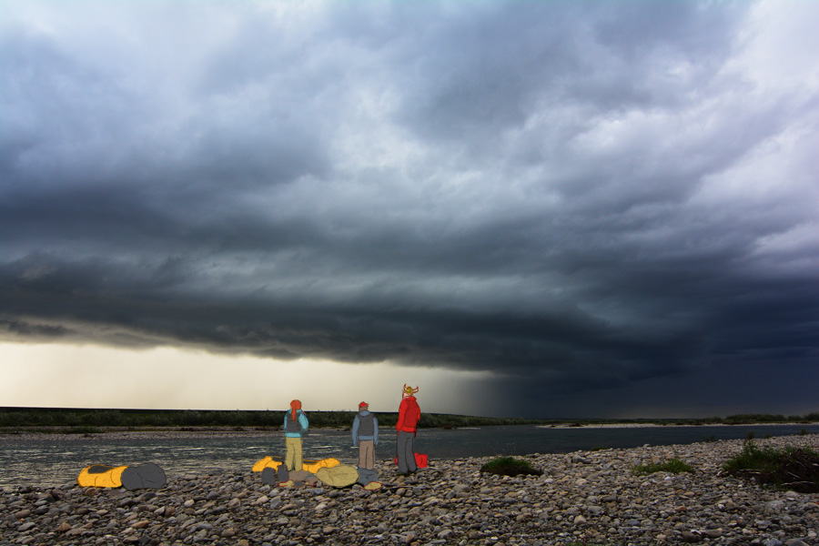 Brett Woelber, Jason Mercer, and Chelsea Ward-Waller watch a huge stormfront roll over us on the Anaktuvuk River, Alaska